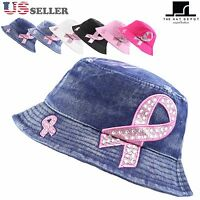 Women's Beaded Shiny Rhinestone Pink Ribbon Bucket Hat