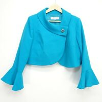 New Tahari By Arthur S. Levine Womens Teal Crepe Envelope Button Jacket 12