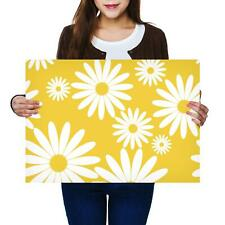 A2 | White Daisy Flowers Yellow Sunny Size A2 Poster Print Photo Art Gift #2441