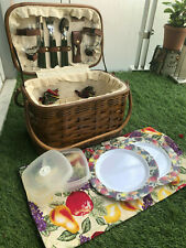Insulated Wicker Picnic Basket Set For 2