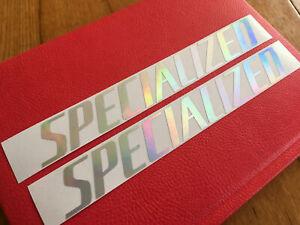 """specialized 17"""" x 2"""" decals stickers iridescent chrome rainbow frame bike evo sl"""