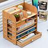 🔥Wooden Desktop Storage Rack Office Pencil Organizer Holder Pen Box Desk Shelf