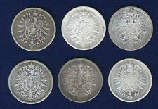 GERMANY EMPIRE  1 MARK SILVER COINS: 1875-A, 1875-D, 1875-H, 1875-J, 1876-A,...