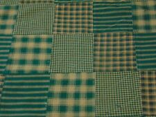 "HOMESPUN FABRIC CLOSEOUT! GREEN PATCHWORK - 3"" SQUARES IN PATCHWORK - BTY"
