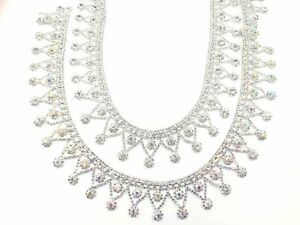 Silver/Ab Diamante Crystal Applique Rhinestone Drop Chain Wedding Trim Belt 11''