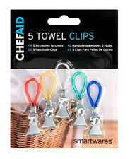 5 x Chef Aid Towel Clips Hooks for Hanging Tea Towel Kitchen Cloths Dishcloths