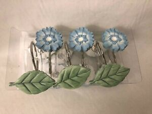 Avanti Home Shower Curtain Hooks Paris Botanique Blue Flowers Green Leaves NEW!