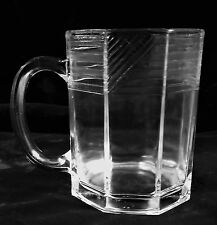 "VTG 8 oz. ""Nev"" Clear Glass Octagon Mug, Horizontal & Diagonal Stripes at Top"