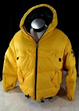 TOMMY HILFIGER YELLOW DOWN PUFFER MENS XL SKI COAT JACKET BOX LOGO VTG Rare VHTF