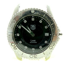 TAG HEUER MENS LINK WJ1113 FOR PARTS OR REPAIRS BLACK DIAMOND DIAL STAINLESS
