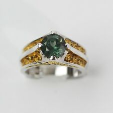 MAGNETIC STERLING SILVER GOLD TONE ETCHED EMERALD GREEN RING size 6