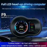 F9 OBD2 GPS Car HUD Head Up Display Digital Speedometer Projector Turbo Oil Temp