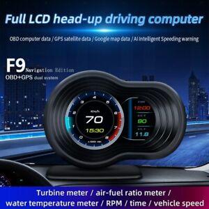 F9 OBD2 GPS Car HUD Head Up Display Digital Speedometer Projector Turbo Oil Temp