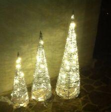 LED Weihnachtsbaum, Leuchtpyramide, Kegel 3er-Set aus Metall mit Glitzerlack