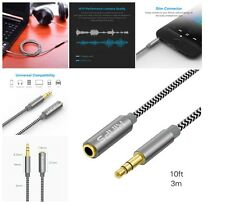 Audio Aux Headphone Cable 10ft 3.5mm Stereo Male to Female Top Quality NEW