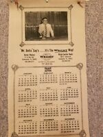 """Vintage 1981 Wright Leather Goods Leather Wall Hanging Calendar Lt Brown 11""""x20"""""""