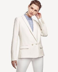 NWT ANN TAYLOR White Double Breasted Button Front Linen Blend Blazer Size S