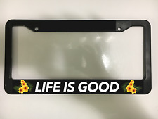 LIFE IS GOOD HAPPY SMILE TROPICAL ALOHA BEACH Black License Plate Frame NEW