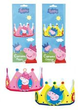 x5 Peppa Pig & George Cardboard Hat Crowns ~ Birthday Party Favours Dress up