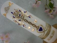 Hochzeitskerze Traukerze Lebensbaum gold lila Herz Taube Ringe mit Beschriftung