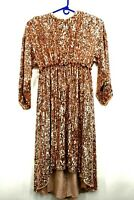 New ASOS Women's Size 8 Rose Gold Sequin Long Sleeve Long Full Length Maxi Dress