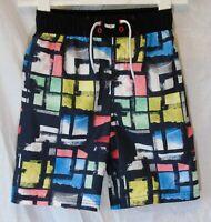 Boys George Black Multi Cool Mesh Lined Swimming Swim Shorts Age 7-8 Years