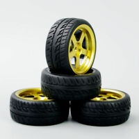 4PCS Wheel  Rubber Rims Rires 1/10 RC On Road Racing Car Golden Tires Tyre Spong