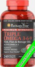 MAXIMUM STRENGTH TRIPLE OMEGA 3-6-9 FISH,FLAX& BORAGE OIL 240 SOFTELS 148