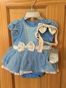 NWT Disney Store Cinderella Baby Costume Bodysuit Headband many sizes