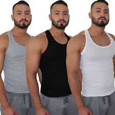 Herren 3x Muskelshirt Unterhemd Shirt schwarz weiss grau Übergrösse S bis 6XL