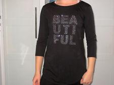 H&M Long Shirt 3/4 Arm schwarz GLITZER Nieten Gr. 164 170 NEU