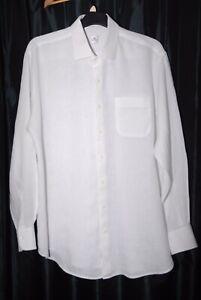 PETER MILLAR Mens White Long Sleeve Linen Shirt Size XL
