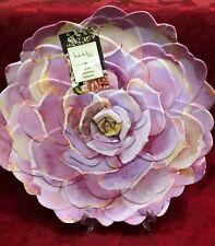 Nicole Miller Melamine Set Of 2 Salad Bowl Plate Floral Pink Lilac Scalloped 11
