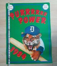 "VTG 1984 Detroit Tigers 19""x26"" Poster Print PURRRRRR Power Great Color Rare HTF"