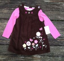 NWT Girls 2pc Corduroy Dress by Sweet 18 Months Brown and Pink
