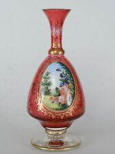 Antique Bohemium Cranberry Glass vase with Porcelain Hand Painted Floral Plaque