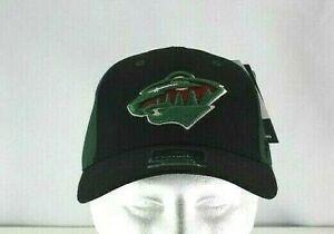 Minnesota Wild Black/Green NHL  Baseball Cap Stretch Fit S/M