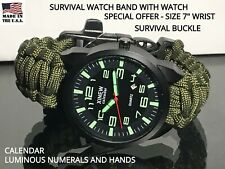 "Custom Green Survival Paracord Watch Band Whistle Military Pilot Watch 7"" Wrist"