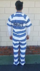 Jail Prison Penitentiary Inmate Jumpsuit clothing Blue & White Stripe Authentic