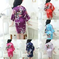 Infant Baby Kid Girl Floral Silk Satin Kimono Robes Bathrobe Sleepwear Clothes A