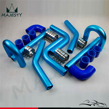"""3"""" Universal 8PCS Turbo Intercooler Pipe Piping 76mm + Silicone Hose Clamp Kit"""