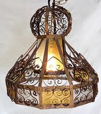Vintage Gothic Scroll Hanging Swag Ceiling Light Fixture