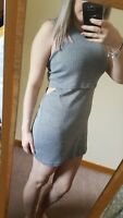 River Island Grey Striped Mini Dress With Cut Out Sides Ribbed Pop Over Size 16