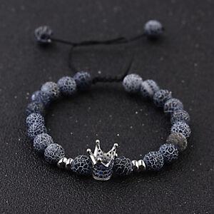 Gorgeous Blue Zircon Crown Natural Stone Lava Men's Copper Bead Macrame Bracelet