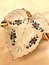 VTG Occupied Japan Orion China Small Leaf Trinket Dish ashtray gold purple flowe