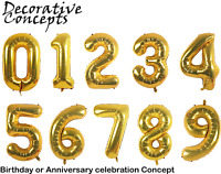 """40"""" Gold Glitz Large Giant Foil Number Balloons Party Decorations Birthday Age"""