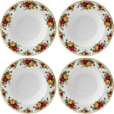 "ROYAL ALBERT OLD COUNTRY ROSES 4 x LARGE RIM SOUP BOWLS 23cm / 9"" - NEW/UNUSED"
