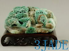 Natural Dushan Jade Carving: Reclusive Life Statue / Sculpture / Oriental Art