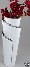 ☼ Formano Vase Keramik weiss silber ca.26cm hoch Edelweiß Reaktionsglasur 725653