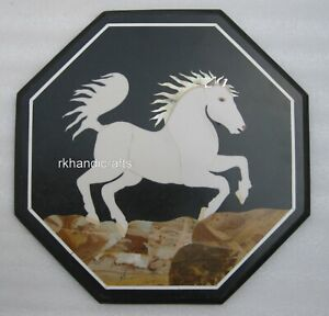 15 Inches Marble Coffee Table Top Elegant Sofa Side Table Top with Horse Pattern